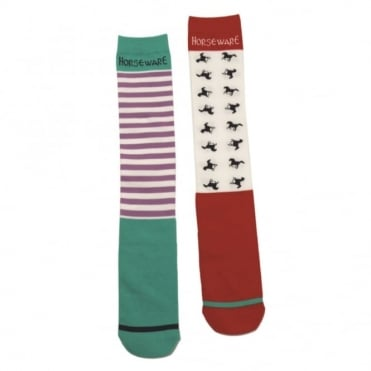 Horseware Stripe/Horse Pack of Two Socks