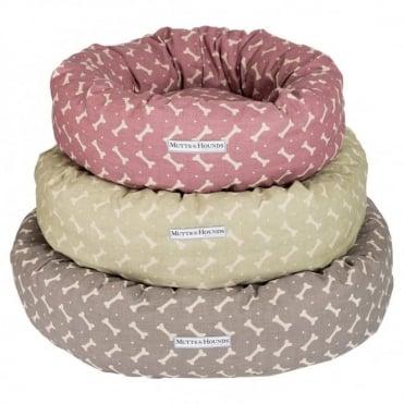 Mutts & Hounds Bone Linen Donut Bed